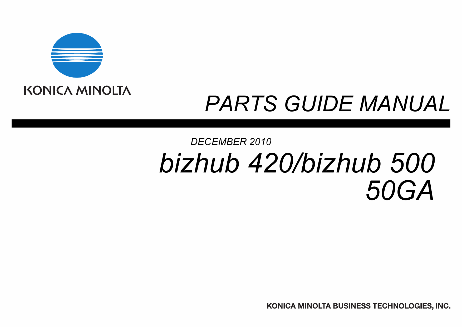 Konica-Minolta bizhub 420 500 Parts Manual